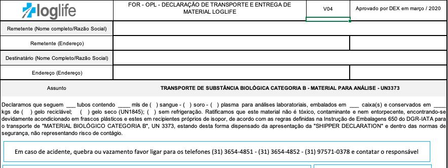 Declaração de Conteúdo no Transporte de Material Biológico